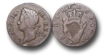 World Coins - EM97 - IRELAND, George II (1727-1760), 'Old Head' Coinage, Copper Farthing, 1744