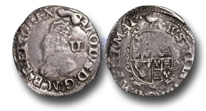 World Coins - H1071 - ENGLAND, Charles I (1625-1649), Twopence or Halfgroat, 0.97g., London (Tower mint under King 1643-1648), no inner circles, Group D, Fourth bust, Hawkins 3a1, m.m. Tun