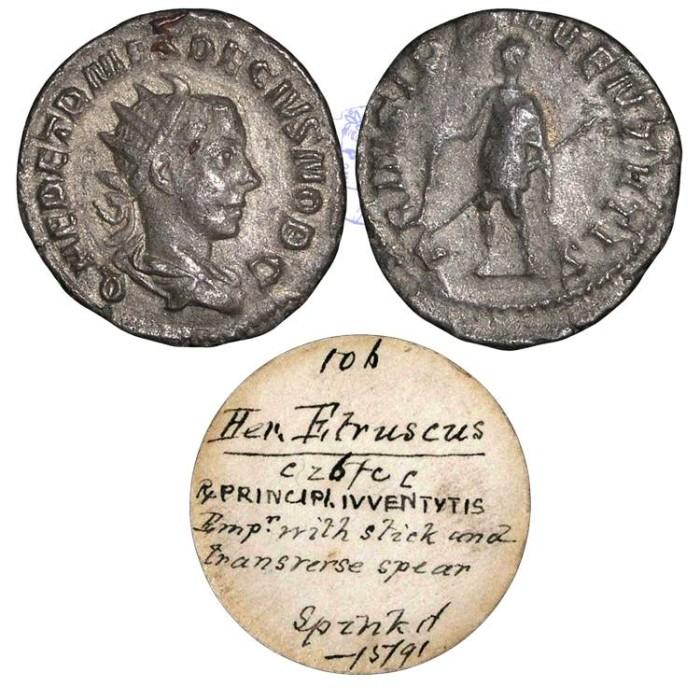 Ancient Coins - R953 - Herennius Etruscus, son of Trajan Decius (Caesar Summer A.D. 251), Silver Antoninianus, 3.55g., Rome mint, A.D. 250-251