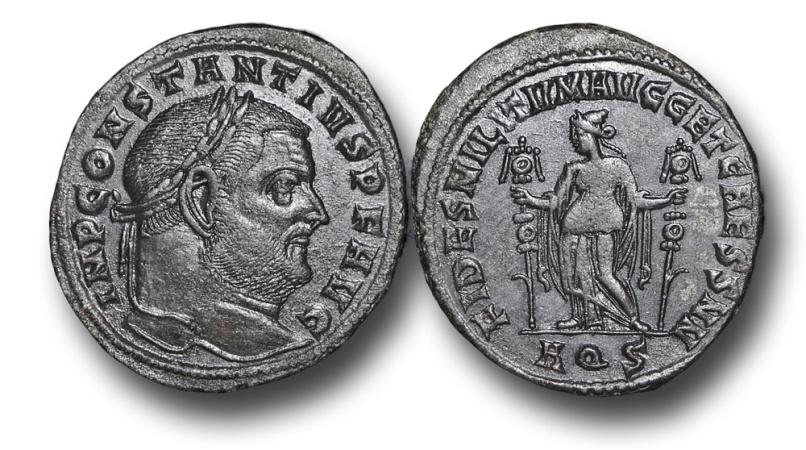 Ancient Coins - R6193 -  Constantius (Chlorus) I as Augutus (A.D. 305 - 306), AE Follis, 9.02g., 29mm, Aquileia mint
