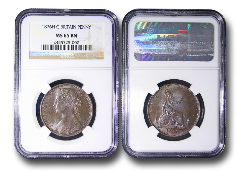 World Coins - JMS10 - GREAT BRITAIN, Victoria (1837-1901), Bronze Penny, 1876H, reverse K, struck under contract by Ralph Heaton & Sons, Birmingham