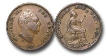 World Coins - EM527 -  Great Britain, William IV (1830-1837), Copper Third-Farthing, 1835
