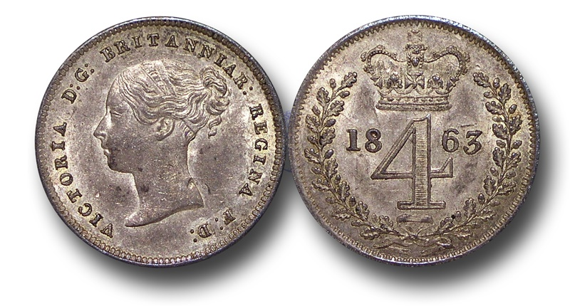World Coins - EM366 - Great Britain, Victoria (1837-1901), Silver Maundy Fourpence, 1863