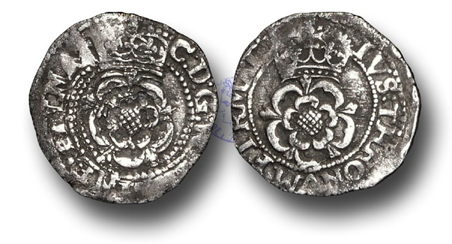 World Coins - H1074 - ENGLAND, Charles I (1625-1649), Halfgroat, 0.92g., Group A, Francis 1, Hawkins 1, Tower Mint, m.m. Cross Calvary