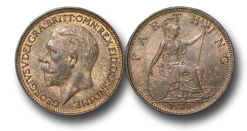 World Coins - EM481 – 	Great Britain, George V (1910-1936), Bronze Farthing, 1930