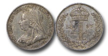 World Coins - EM493 - Great Britain, Victoria   (1837-1901), Silver Maundy Fourpence, Old Head, 1897