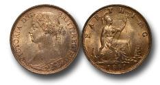 World Coins - MD1336 -  Great Britain,  Victoria   (1837-1901), Bronze Farthing, 1861, UNC