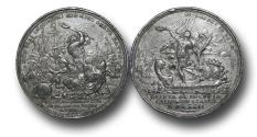 World Coins - M1553 – ENGLAND, William III and Mary II (1688-1694), Battle of La Hogue, 1692, Lead Medal, by P. H. Müller