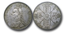 World Coins - EM579 -  Great Britain, Victoria    (1837-1901), Double Florin or Four Shillings, 1887, Jubilee Head Coinage, Arabic I in date