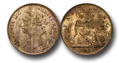 World Coins - EM339 -  Great Britain,  Victoria   (1837-1901), Bronze Farthing, 1881