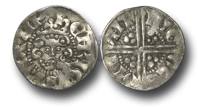 World Coins - VLC675 - ENGLAND, Henry III (1216-1272), Penny, 1.38g., Voided Long Cross Coinage, Class 3b, (1248-1250), Nicole - Canterbury