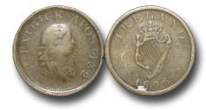 World Coins - EM273 - Ireland, George III  (1760-1820),  Copper Halfpenny, PATRICK APOS 432, Contemporary Imitation Regal Harp Evasive Issue, overstruck on an 1806 Irish penny