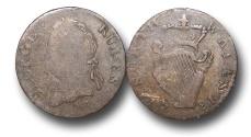 World Coins - EM291 -  Ireland, George III  (1760-1820), Copper Halfpenny, Contemporary Imitation Regal Harp Evasive Issue, no date