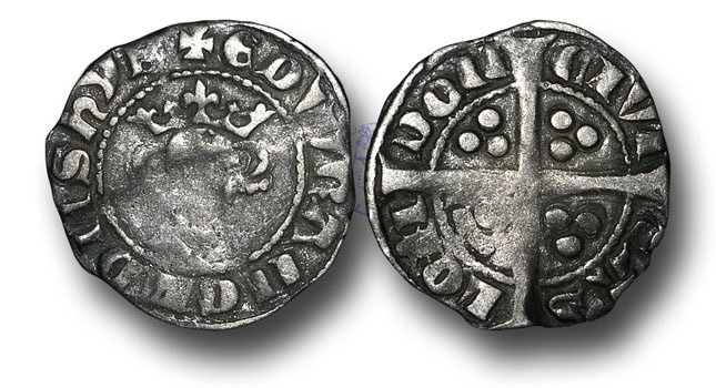 World Coins - EDW152 - England, Edward I (1272-1307), Penny, 1.37g., New coinage, class 9b (c.1299 to 1300/1), London mint,  star on breast