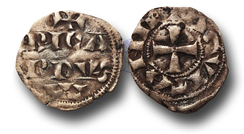World Coins - SF4 - Anglo-Gallic, Aquitaine, Richard (I) Coeur de Lion (Count of Poitou and Duke of Aquitaine 1172-1185, King of England 1189-1199), Silver Obole, Ex Steve Ford Collection.