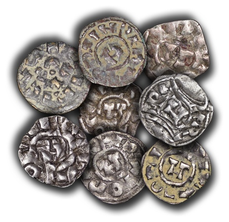 World Coins - ME712LOT - ITALY, Lucca, immobilized type in the name of  the Holy Roman emperor, Heinrich III-V (1039-1125), Silver Denaros (lot of 8)