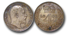 World Coins - EM459 – 	Great Britain,  Edward VII (1901-1910), Silver Maundy Fourpence, 1902