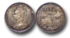 World Coins - EM158 - Great Britain, Victoria   (1837-1901), Silver Maundy Threepence, Jubilee Head, 1889