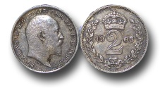 World Coins - EM127 – Great Britain,  Edward VII (1901-1910), Silver Maundy Twopence, 1903