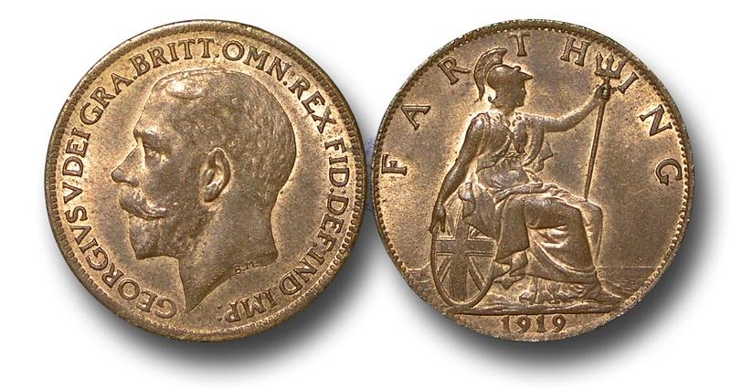 World Coins - EM479 –  Great Britain, George V (1910-1936), Bronze Farthing, 1919