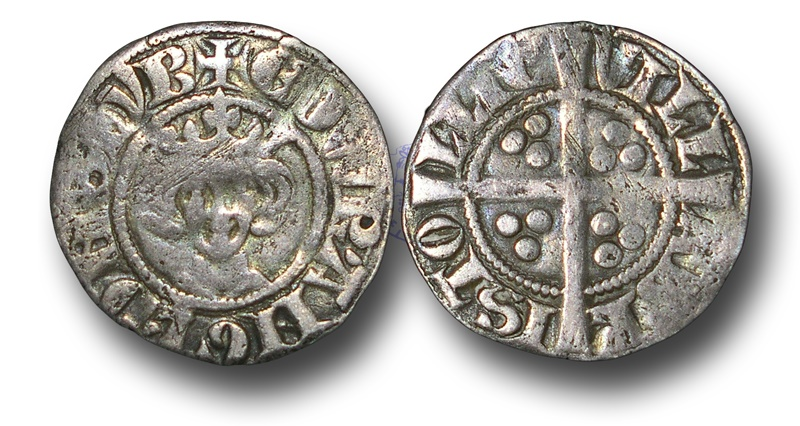 World Coins - H3185 - ENGLAND,  Edward I (1272-1307), Penny, 1.28g., New coinage, class 3g (1280 to 1281) Bristol mint