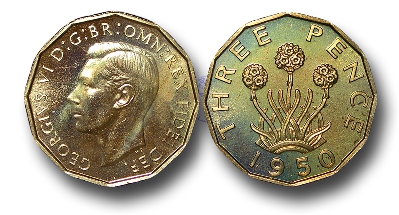 World Coins - EM464 - Great Britain, 	George VI (1936-1952), Proof Brass Threepence, 1950