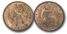 World Coins - EM652 - Great Britain, Victoria (1837-1901), Bronze Farthing, 1860, Beaded Border