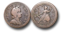 World Coins - EM111 - GREAT BRITAIN, George I  (1714-1727), Copper Halfpenny, 1722