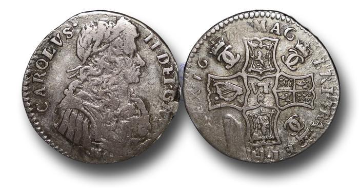 World Coins - S701 - SCOTLAND, Charles II (1649-1685), Silver Half-Merk (6/8 Scots), 1675, Type IV