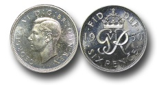 World Coins - EM518 - Great Britain, George VI (1936-1952), Proof Cupro-Nickel Sixpence, 1950