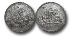 World Coins - M553 – ENGLAND, William III and Mary II (1688-1694), Battle of La Hogue, 1692, Lead Medal, by P. H. Müller
