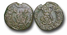 World Coins - IJF15 - England and Ireland, Charles I (1625-1649), Copper 'Rose' Farthing, 1.05g., 14mm, m.m. lis