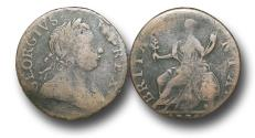 World Coins - MD1112 - GREAT BRITAIN / AMERICAN COLONIES, George III (1760-1820), Copper Halfpenny,  Contemporary Imitation,  1775