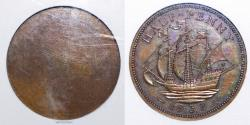 World Coins - TY18 - Great Britain, Edward VIII (January - December 1936), Bronze Halfpenny, Reverse Die Trial, 1937, by  	T. H. Paget