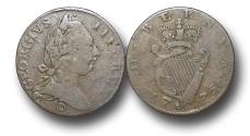 World Coins - MD1170 - IRELAND / AMERICAN COLONIES, George III  (1760-1820), Copper Halfpenny, Contemporary Imitation, 1775