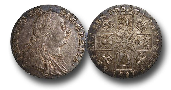 World Coins - MD667 - GREAT BRITAIN, George III (1760-1820), Shilling, 1787, 6.00g., 25mm, no semée of hearts
