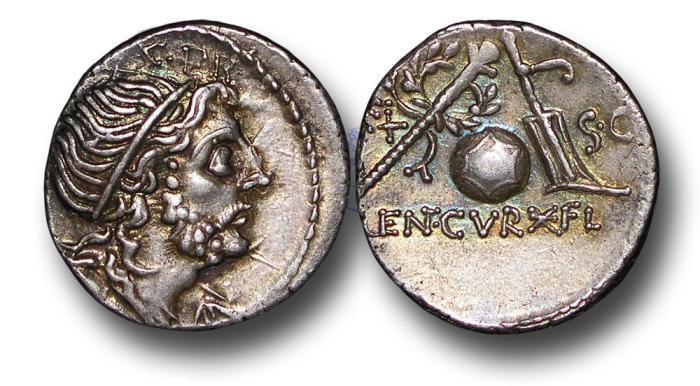 Ancient Coins - RPM52 - Roman Republic, Cn. Cornelius Lentulus Martellinus (76 - 75 B.C.), Silver Denarius