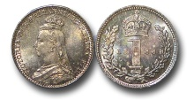 World Coins - EM545 - Great Britain, Victoria   (1837-1901), Silver Maundy Penny,  1888
