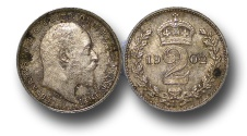 World Coins - EM128 – 	Great Britain,  Edward VII (1901-1910), Silver Maundy Twopence, 1902