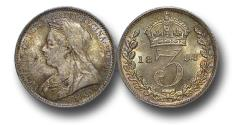 World Coins - MD1408 - Great Britain, Victoria   (1837-1901), Silver Maundy Threepence, Old Head, 1893