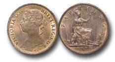 World Coins - MD1342 - Great Britain,  Victoria  (1837-1901), Bronze Farthing, 1884, UNC