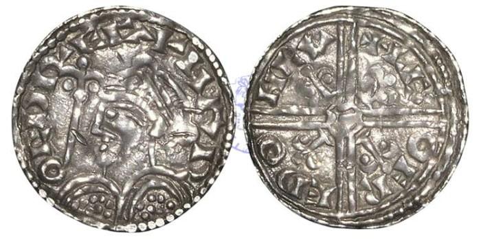 Ancient Coins - H852 - ANGLO-SAXON, Harold Harefoot (1035-1040), Sole Reign, Silver Penny, 1.11g., Fleur-de-Lis type (c.1038-c.1040), London - Leofraed