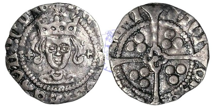 Ancient Coins - H1003 - ENGLAND, LANCASTRIAN, Henry VI, First Reign (1422-1461), Silver Penny, 0.85g., Rosette-mascle issue (1427-30), initial mark Cross Patonce, York mint, Archbishop John Kemp