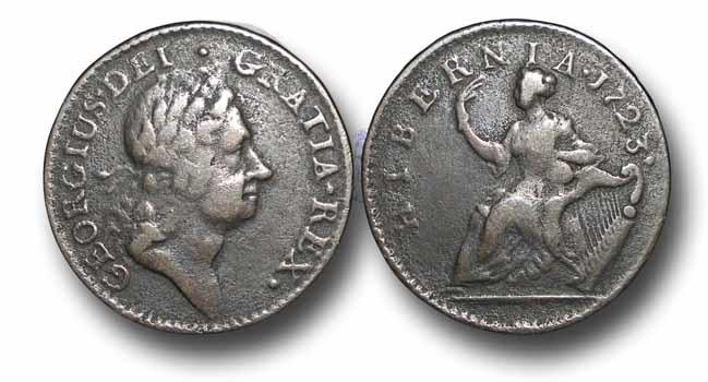 US Coins - IR1014 - IRELAND / U.S. COLONIAL, George I (1714-1727), William Wood's 'Hibernia' Coinage, Copper Halfpenny, Type II, 1723