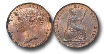 World Coins - EM324 -  	Great Britain,  Victoria   (1837-1901), Copper Farthing, 1855, raised WW on truncation