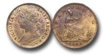 World Coins - EM346 -   Great Britain,  Victoria   (1837-1901), Bronze Farthing, 1885, (S.3958), orange, uncirculated. $130