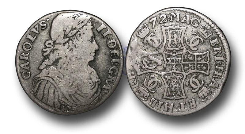 World Coins - S677 - SCOTLAND, Charles II (1649-1685), Silver Merk (13/4 Scots), 5.77g., 26mm, 1672