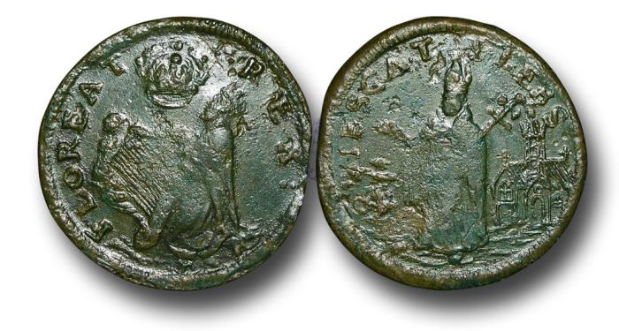 US Coins - IR1754 – IRELAND / U.S. COLONIAL, St. Patrick or Mark Newby Coinage, struck in Dublin 1663-1672, Legal Tender in New Jersey from 1682, Copper Farthing