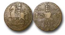 World Coins - EM546 - Ireland, James II   (1685-1688/1691), Civil War Coinage (1689-91), Gunmoney Coinage, Crown overstruck on a large size Gunmoney Halfcrown, 1690