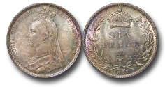 World Coins - EM651 - Great Britain, Victoria (1837-1901), Silver Sixpence, 1887